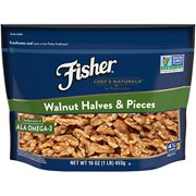 Fisher Walnut Halves & Pieces, No Preservatives, Non GMO, 16 oz