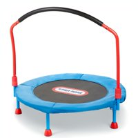 Little Tikes Easy Store 3-Foot Trampoline, with Hand Rail, Blue/Red