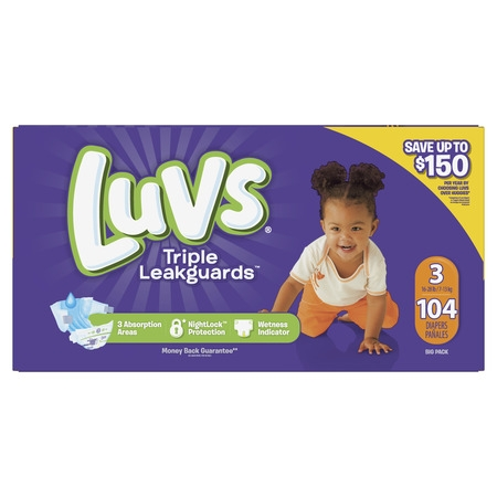 Luvs Ultra Leakguards Diapers (Choose Size and Count) (Monkey Newborn Diapers)
