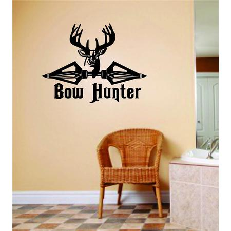 Custom Wall Decal Bow Hunter Animal Hunting Hunter Man Gun picture Art Boys Kids Sticker Vinyl Wall Decal 10 X 20 Inches