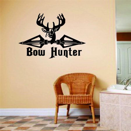 Custom Wall Decal Bow Hunter Animal Hunting Hunter Man Gun picture Art Boys Kids Sticker Vinyl Wall Decal 10 X 20 Inches ()