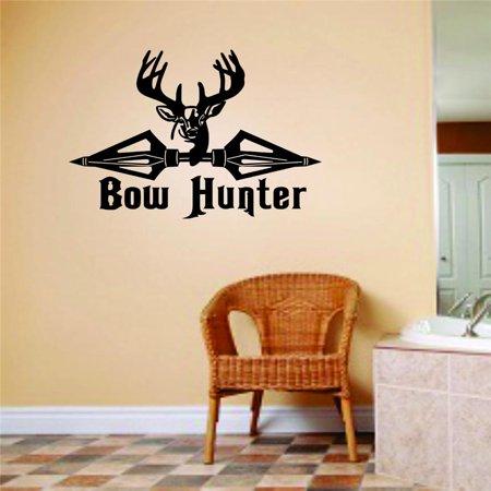 Custom Wall Decal Bow Hunter Animal Hunting Hunter Man Gun picture Art Boys Kids Sticker Vinyl Wall Decal 10 X 20