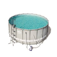 """Bestway Power Steel 16' x 48"""" Frame Swimming Pool Set with Filter Pump, Ladder and Cover"""