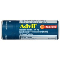 Advil (10 Count Vial) Pain Reliever / Fever Reducer Coated Tablet, 200mg Ibuprofen, Temporary Pain Relief