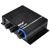PYLE PFA200 - Home Mini Audio Amplifier - 60W Portable Dual Channel Surround Sound HiFi Stereo Receiver w/ 12V AC Adapter, AUX, MIC IN, Supports Smart Phone, iPhone, iPod, MP3 For 2-8ohm Speakers