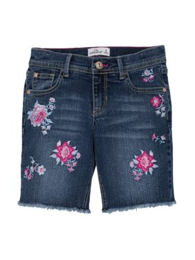 Embroidered Floral Denim Bermuda Short (Little Girls & Big Girls)