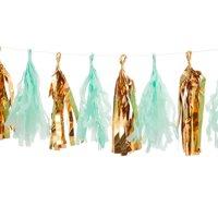 Darice Gold & Mint Mylar Tassel Garland, 12 Tassels, 6ft