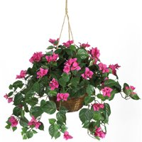 Nearly Natural Artificial Bougainvillea Hanging Basket Silk Plant