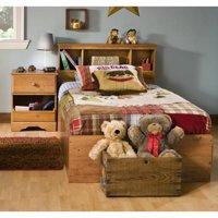 Kids Twin Wood Captain's Bed 3 Piece Bedroom Set in Country Pine