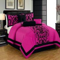 Donna King Size 8-Piece Damask Flocking Over Sized Comforter Bedding Set Pink & Black