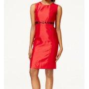 6512aee497f Kasper NEW Red Black Jeweled Trim Women s Size 4 Suiting Sheath Dress