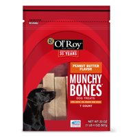 Ol' Roy Munchy Bone Peanut Butter Flavor Chews Dog Treats, 7 count
