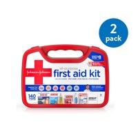 (2 Pack) Johnson & Johnson All-Purpose Portable First Aid Kit, 140 pc