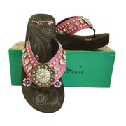95e057ac1 Montana West Women Flip Flops Wedged Bling Sandals Large Floral Concho Pink