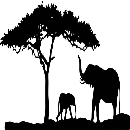 Custom Wall Decal Boys Vinyl Animal Decals For Walls - Elephant - Bedroom Sticker Decals - 12x30 Inches