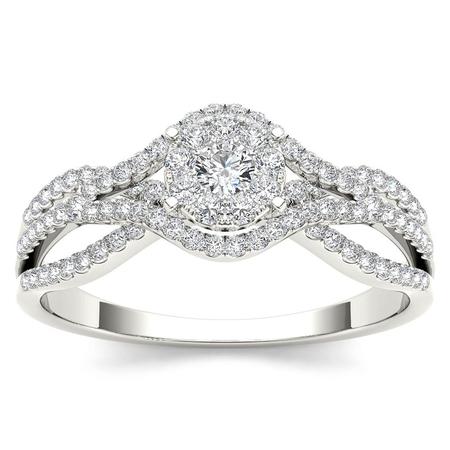 Diamond Split Shank Ring - 1/2Ct TDW Diamond 10K White Gold Cluster Split Shank Engagement Ring