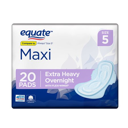 - Equate Maxi Pads wih Flexi-Wings, Extra Heavy Overnight, Size 5, 20 Count