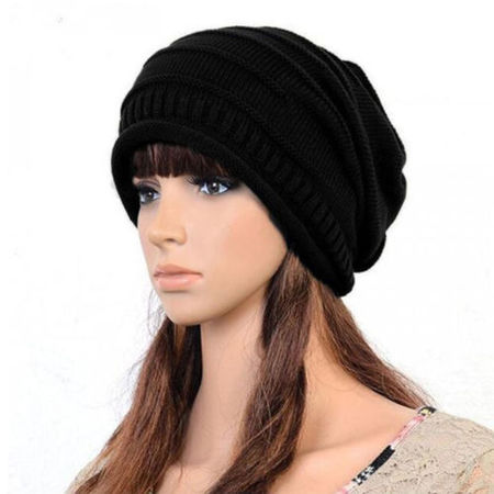 Unisex Womens Mens Knit Baggy Beanie Hat Winter Warm Oversized Ski Slouch