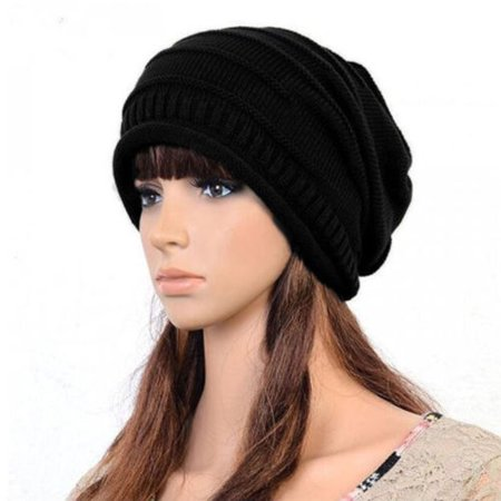 Unisex Womens Mens Knit Baggy Beanie Hat Winter Warm Oversized Ski Slouch Cap - Ladies Knitted Mesh Hat