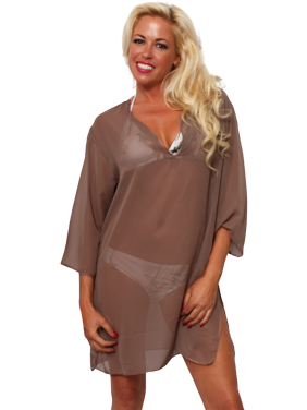 Women's Chiffon Long Sleeve Swimwear Cover-up Beach Dress Made in the USA
