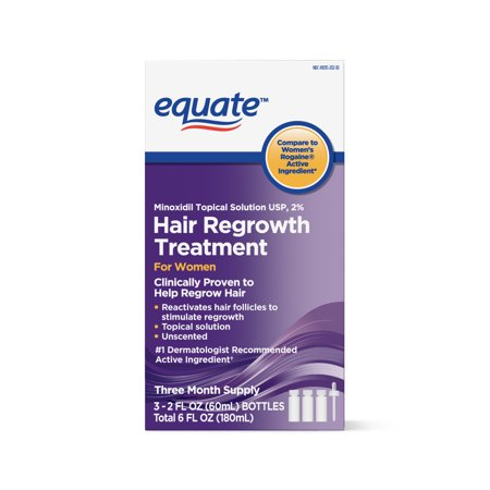 Equate Women's Minoxidil Topical Solution for Hair Regrowth, 3-Month