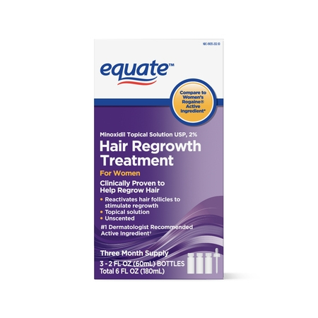Equate Women's Minoxidil Topical Solution for Hair Regrowth, 3-Month Supply
