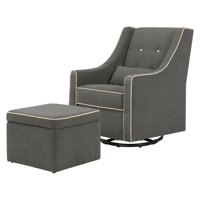 DaVinci Owen Glider and Storage Ottoman in Dark Grey with Cream Piping