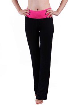HDE Women's Color Block Fold Over Waist Yoga Pants Flare Leg Workout Leggings (X-Large, Hot Pink)