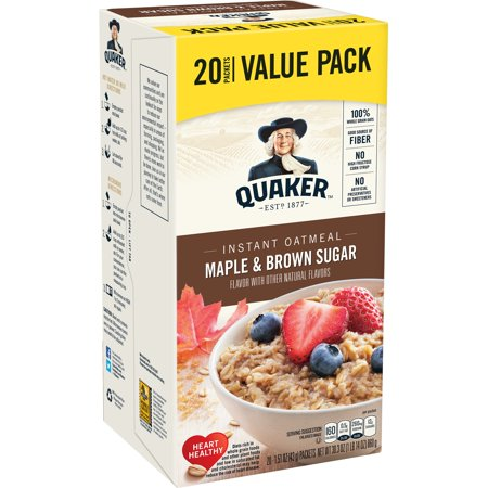 Quaker Instant Oatmeal, Maple & Brown Sugar Value Pack, 20 (Jackson Oatmeal)