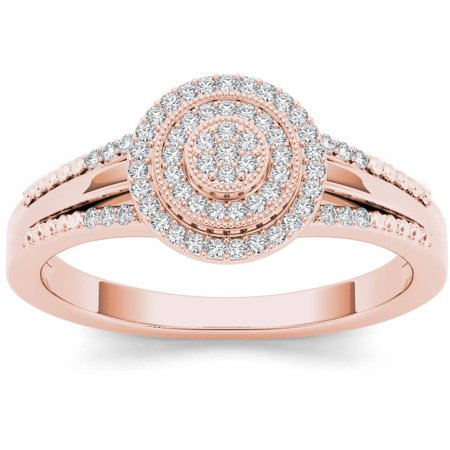 1/6 Carat T.W. Diamond Split Shank Cluster Double Halo 10kt Rose Gold Engagement Ring