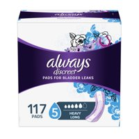 Always Discreet Incontinence Pads for Women, Heavy Absorbency, Long Length, 117 Count