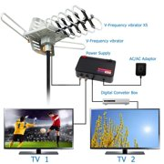 TV Antenna Amplified digtal Outdoor Antenna with Mounting Pole--150 Miles Range--360 Degree Rotation Wireless Remote--Snap-On Installation Support 2 TVs
