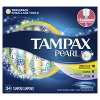 Tampax Pearl Plastic Tampons Triple Pack with Light/Regular/Super Absorbency, Unscented, 34 Count