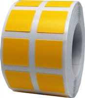 Yellow Square Stickers, 0.5 Inch Square, 1000 Labels on a (Yellow Vinyl Labels)
