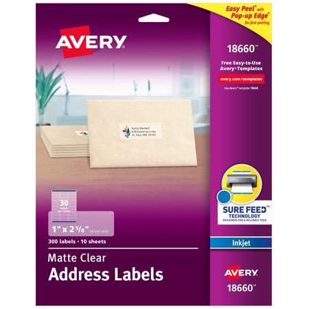 - Avery Matte Clear Address Labels, Sure Feed Technology, Inkjet, 1