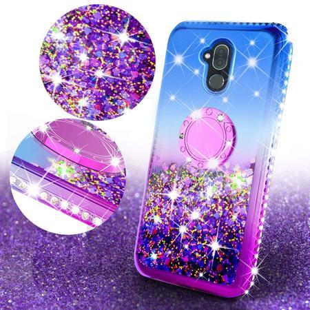 Alcatel 7 / Revvl Plus 2 Liquid Glitter Cute Bling Phone Case with Kickstand, Diamond Rhinestone Bumper Ring Stand Sparkly Clear Protective for Girl Women (Purple)