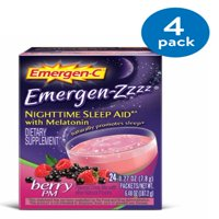 (4 Pack) Emergen-C Emergen-Zzzz (24 Count, Berry PM Flavor) Dietary Supplement Fizzy Drink Mix Nighttime Sleep Aid with Melatonin with 500mg Vitamin C, 0.29 Ounce Packets
