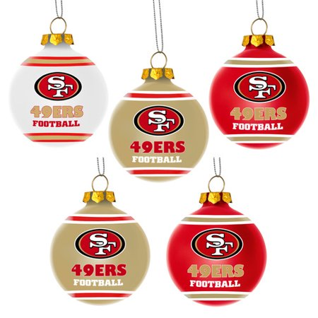 Forever Collectibles NFL 5-Pack Shatterproof Ball Ornaments, San Francisco - Halloween Balls In San Francisco