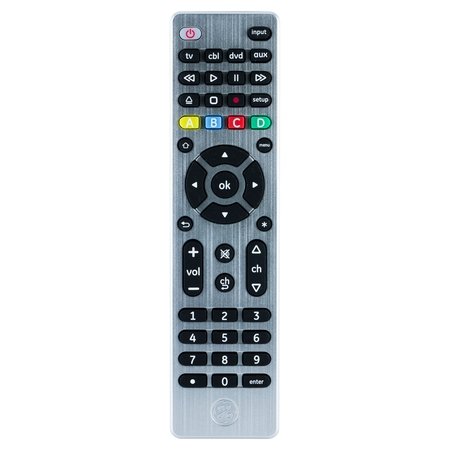 GE UltraPro 4-Device Universal Remote Control, Brushed Silver,