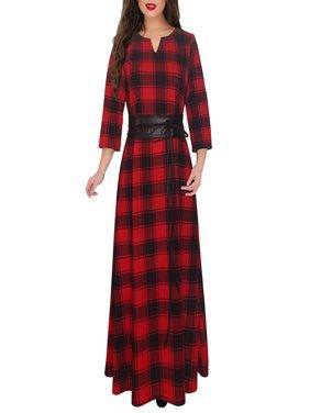 Hot Sale Women's Plus Size Red Classic Plaid Flared Maxi Long Dress with Waist Belt, XL-5XL