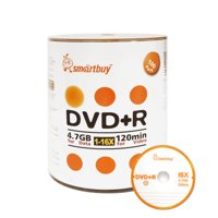 100 Pack Smartbuy 16X DVD+R DVDR 4.7GB Logo Top (Non-Printable) Data Video Blank Recordable Disc
