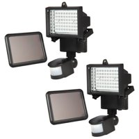 iGlow 2 Pack Black / White 60 Bright White SMD LEDs Outdoor Garden Solar Motion Sensor Security Flood Light Spot 80 100