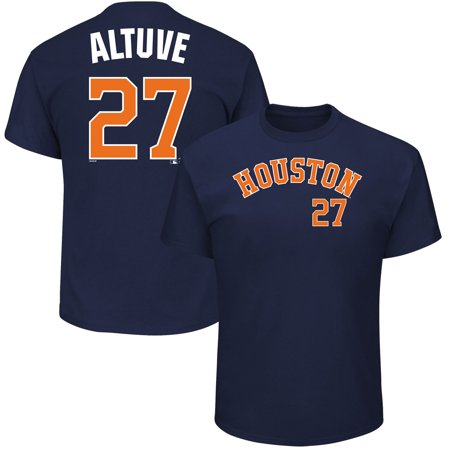 Men's Majestic Jose Altuve Navy Houston Astros MLB Name & Number T-Shirt (Navy League)