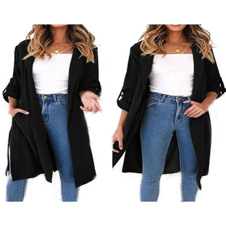 Womens Waterfall Long Trench Coat Ladies 3/4 Sleeve Drape Belted Blazer Outwear - Kids Green Blazer