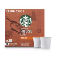 (4 Pack) Starbucks House Blend Medium Roast Single Cup Coffee for Keurig Brewers, 1 Box of 16 (16 Total K-Cup Pods)