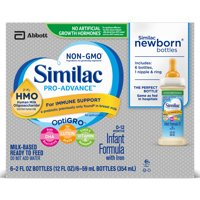 Similac Pro-Advance Infant Formula with 2'-FL HMO for Immune Support, Ready to Feed Newborn Bottles, 2 fl oz (Pack of 48)