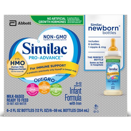 Similac Pro-Advance Non-GMO with 2'-FL HMO Infant Formula with Iron Baby Formula 2 oz Bottle (Pack of
