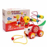 Meigar Wooden Duck Trailer Around Beads Educational Game Toys For Boy Girl Birthday Gift Toy