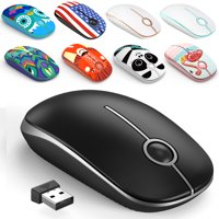Jelly Comb 2.4G Slim Wireless Mouse with Nano Receiver - Black and Silver