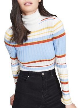 Striped Roll Neck Ribbed Knitted Top